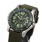 AK Military 35mm grön Army Nylon Canvas Strap, Quartz klocka