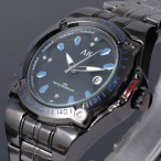 AK Military, Army armbandsur, datum, svart armband i rostfritt stål, se bilder