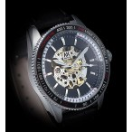 AK Homme Automatic armbandsur, glasad baksida