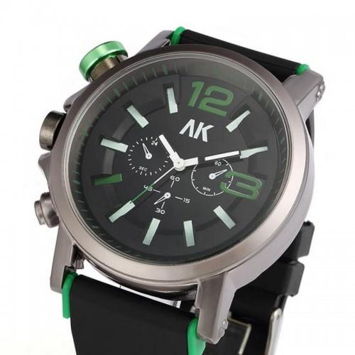 AK Maritime, grön, krona på vänster sida, storlek XL, rubber armband (AK herrklockor) från klockor4you.se