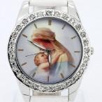 Klocka med mor och barn, kristaller, vit armband