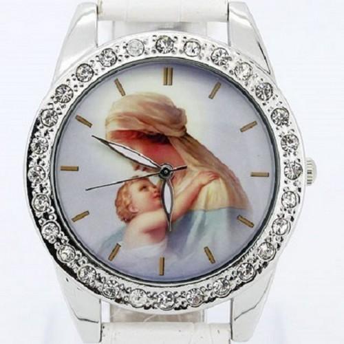 Klocka med mor och barn, kristaller, vit armband (99 kronor) från klockor4you.se