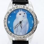 Klocka med vit uggla, kristaller, svart armband