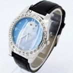 Klocka med vit uggla, kristaller, svart armband (Djurmotiv) från klockor4you.se