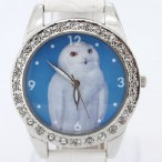 Klocka med vit uggla, kristaller, vit armband