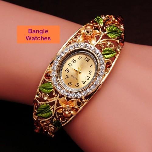 Bangle klocka Gold Plated, med fina kristaller, modell BW02 (Barn - ungdomar) från klockor4you.se