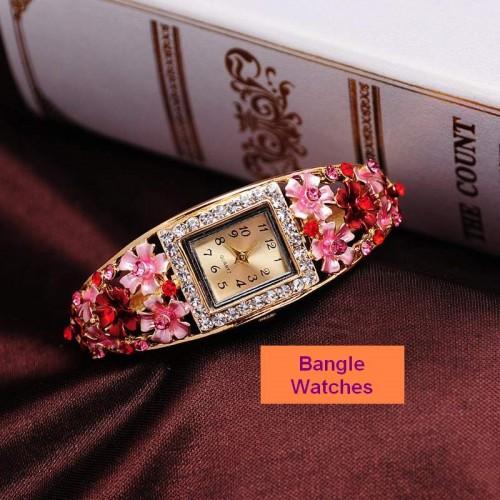 Bangle klocka Gold Plated, med fina kristaller, pink rosa, modell BW01 (Barn - ungdomar) från klockor4you.se