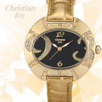 Christian Joy guldfärgad klocka med kristaller, svart urtavla, guldigt armband