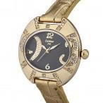 Christian Joy guldfärgad klocka med kristaller, svart urtavla, guldigt armband (Christian Joy) från klockor4you.se
