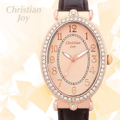 Christian Joy rosé guld färgad klocka med kristaller, oval urtavla, se bilder (Barn - ungdomar) från klockor4you.se