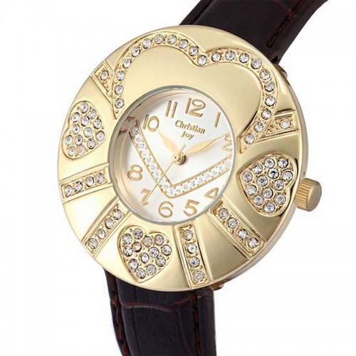 Christian Joy klocka, guldfärgad boett med hjärtan, se 12 bilder (99 kronor) från klockor4you.se