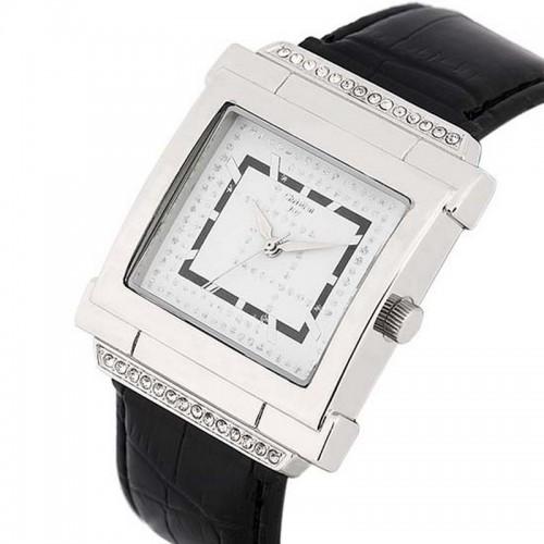 Christian Joy silverfärgad klocka, kristaller, fyrkantig urtavla, se 12 bilder (99 kronor) från klockor4you.se