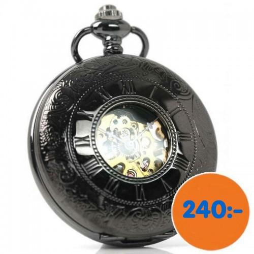 Fickur retro, PW16, glasad baksida, mekaniskt urverk, oanvänt (Hängur, halsbandsklockor) från klockor4you.se