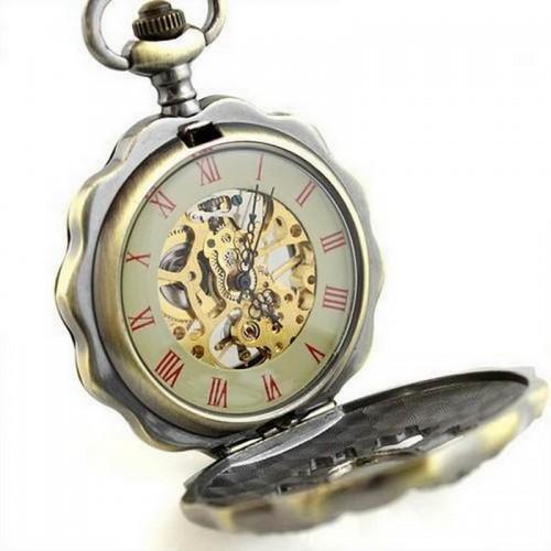 Mekaniskt fickur med kedja, romerska siffror, retro, glasad baksida, PW30 (Hängur, halsbandsklockor) från klockor4you.se