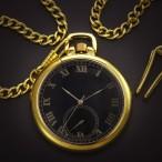 Guldfärgat fickur, svart urtavla, batteridrivet, retrostil, Open Face (Hängur, halsbandsklockor) från klockor4you.se