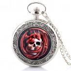 Röd drake på dödskalle, fickur, halsbandsklocka, batteridrivet
