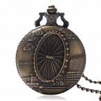 London Eye, brons fickur, halsbandsklocka, kedja ingår, vit urtavla