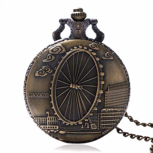 London Eye, brons fickur, halsbandsklocka, kedja ingår, vit urtavla (Barn - ungdomar) från klockor4you.se