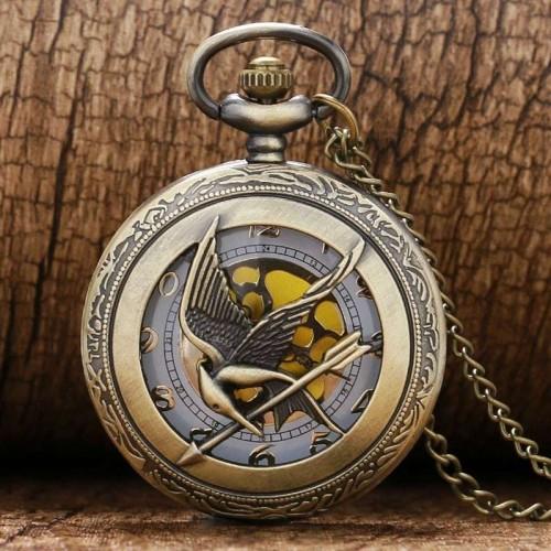 The Hunger Games, fickur halsbandsklocka, steampunk, retro, hollow (Djurmotiv) från klockor4you.se