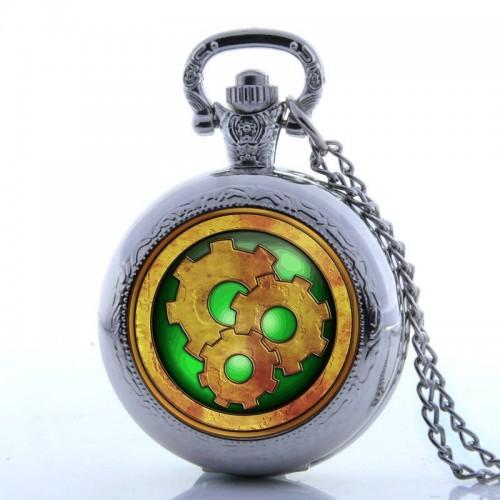 """""""Golden Gear"""" silverfärgat hängur, halsbandsklocka, fickur, fina detaljer (Hängur, halsbandsklockor) från klockor4you.se"""