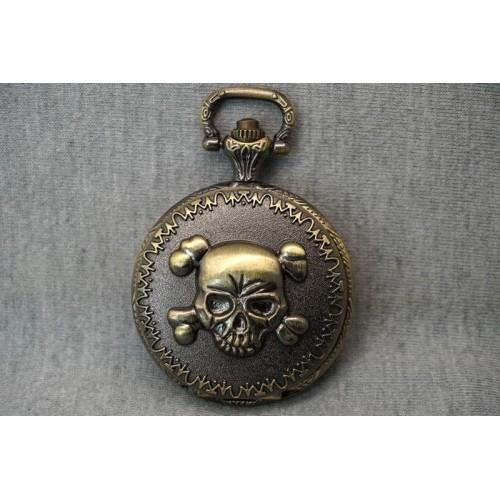 Skull and Bones fickur/halsbandsklocka, dödskalle och ben, kedja ingår (Barn - ungdomar) från klockor4you.se