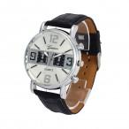 Geneva armbandsur, silverfärgad urtavla, svart läderarmband