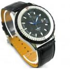 Winner Automatic med datum, svart urtavla och läderarmband, blå visare
