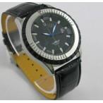 Winner Automatic med datum, svart urtavla och läderarmband, blå visare (Herrklockor) från klockor4you.se