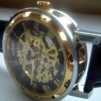 Winner klocka, automatiskt urverk, skelettur, romerska siffror, svart urtavla