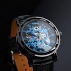Winner klocka, mekaniskt urverk, halv skelett, metallisk blå urtavla
