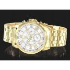 Day-date, 24h, romerska siffror, vit urtavla, guldfärgat armband (Herrklockor) från klockor4you.se
