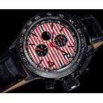 Königswerk, day-date, dag-natt, röd-vit urtavla, svart läderarmband