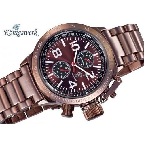 Königswerk, Day-Date, Metallic Brown urtavla, brunt stålarmband (Herrklockor) från klockor4you.se